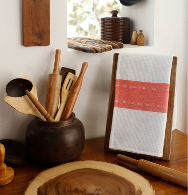 Honeycomb/Twill Cotton Kitchen Towel Coral Red