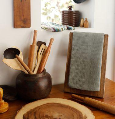 Honeycomb Cotton Kitchen Towels Moon Mist
