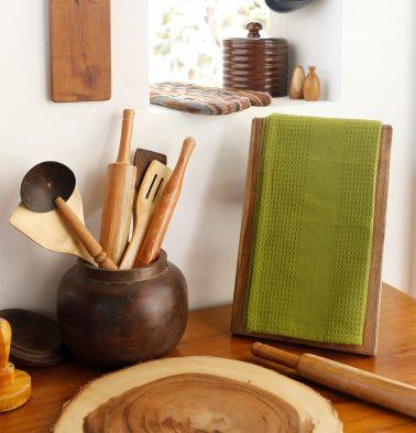 Honeycomb Cotton Kitchen Towel Moss Green