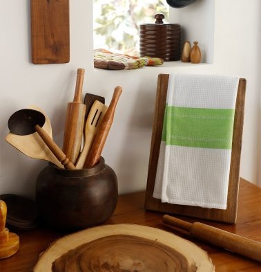 Honeycomb/Twill Cotton Kitchen Towel Parrot Green