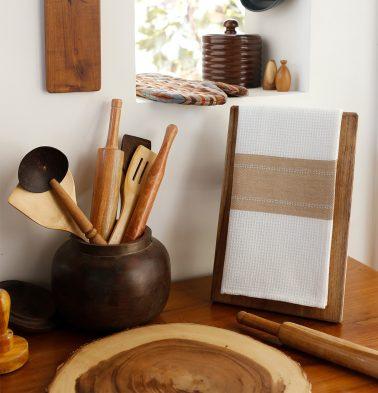 Honeycomb/Twill Cotton Kitchen Towel Tan brown