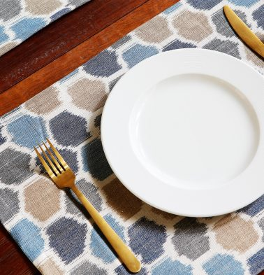 Ikat Handwoven Cotton Table Mats - Blue/White - Set of 6