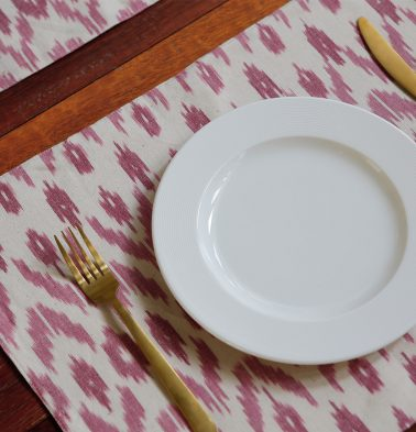 Ikat Handwoven Cotton Table Mats - White/Pink - Set of 6