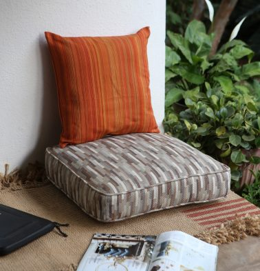 Handwoven Tiles Cotton Floor Cushion Beige/Grey