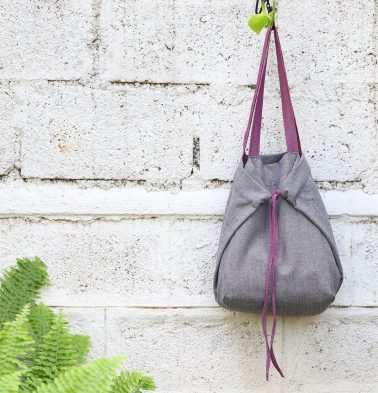 Adaptable Cotton Tote Bag Grey/ Purple