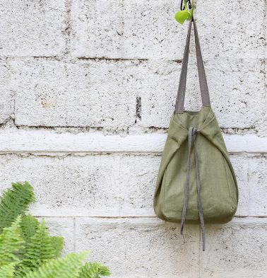 Adaptable Cotton Tote Bag Iguana Green / Grey