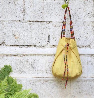 Adaptable Cotton Tote Bag Yolk Yellow / Stripe