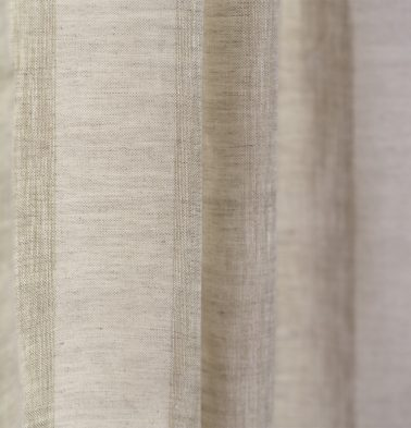Broad Stripe Linen Fabric Beige/White