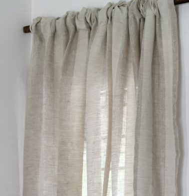 Broad Stripes Linen Curtain Beige/White