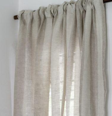 Broad Stripe Linen Custom Curtain Beige/White