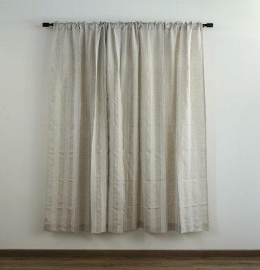 Broad Stripe Linen Custom Curtain Beige/White