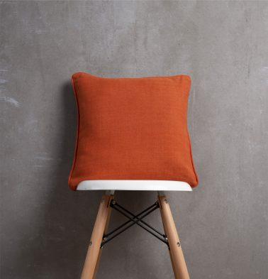 Chambray Cotton Cushion cover Apricot Orange 16