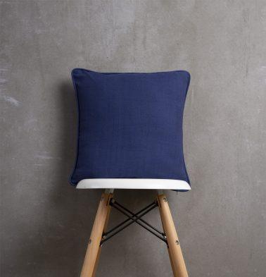 Chambray Cotton Cushion cover Indigo Blue 16