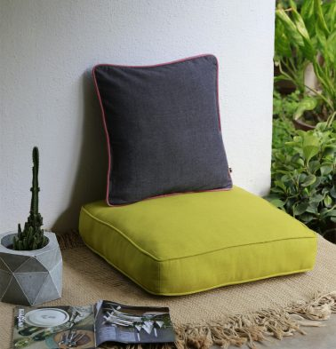 Chambray Cotton Floor Cushion Apple Green