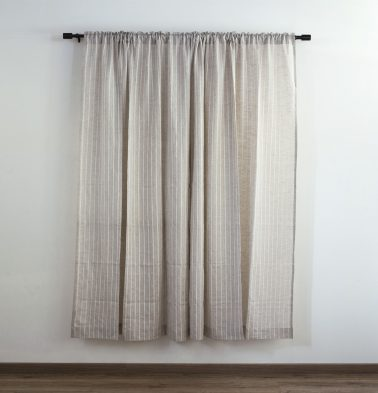 Fine Stripe Linen Custom Curtain Beige/White