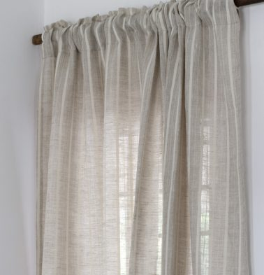 Fine Stripes Linen Curtain Beige/White