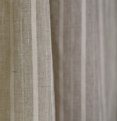 Fine Stripe Linen Fabric Beige/White