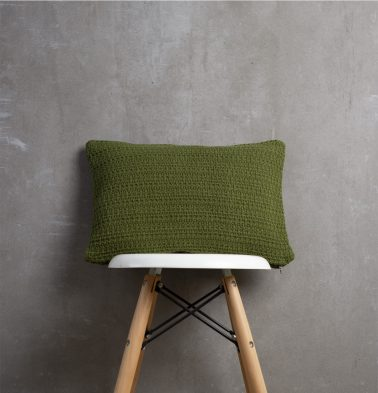 Handwoven Cotton Cushion Cover Pesto Green 12