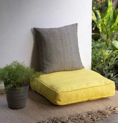 Handwoven Cotton Floor Cushion Sunshine Yellow