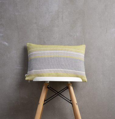 Handwoven Horizontal Stripes Cotton Cushion Cover Lemon Green/Grey 12″x18