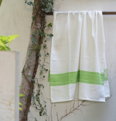 Honeycomb/twill Cotton Bath towels Parrot Green