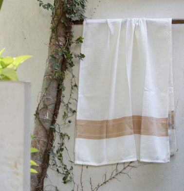 Honeycomb/twill Cotton Bath towels Tan Brown