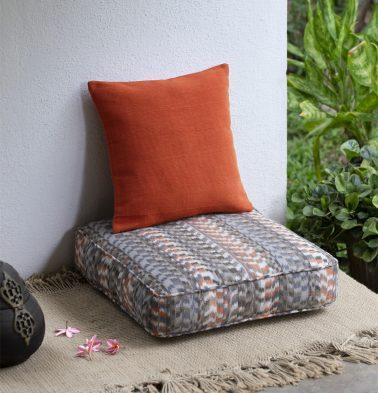 Ikat Floor Cushion Grey/Orange