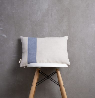Linen Cushion Cover with Blue Pinstripes 12