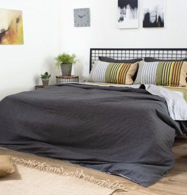 Pin Stripes Cotton Duvet Cover Black