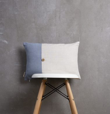 Pinstriped Blue / Linen Cushion Cover with Button 12