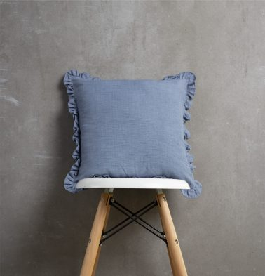 Pinstriped Cotton Cushion cover Blue with Frills 16