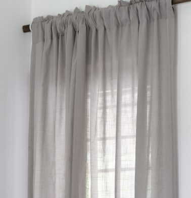 Slub Sheer Cotton Curtain Ash Grey