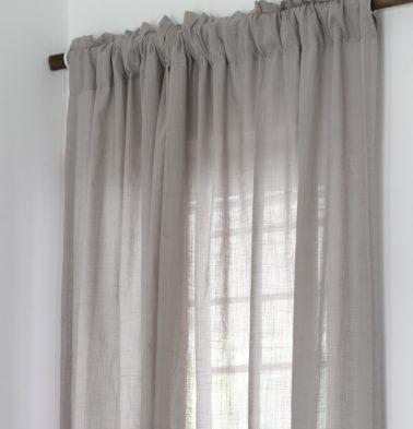 Slub Cotton Sheer Custom Curtain Ash Grey