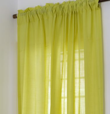 Slub Sheer Cotton Curtain Lemon Green
