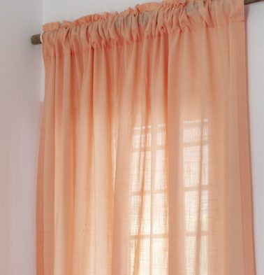 Slub Sheer Cotton Curtain Papaya Peach