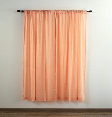 Customizable Sheer Curtain, Slub Cotton - Papaya Peach