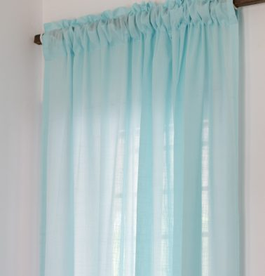Slub Sheer Cotton Curtain Plume Blue