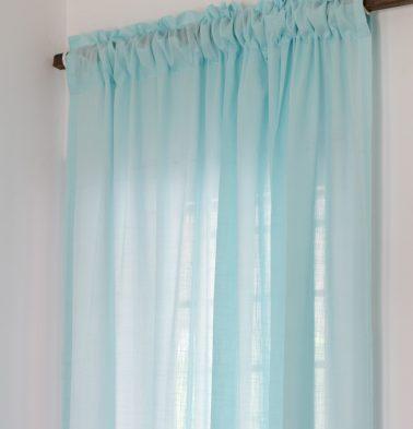 Slub Cotton Sheer Custom Curtain Plume Blue