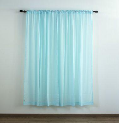 Customizable Sheer Curtain, Slub Cotton - Plume Blue