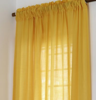 Slub Sheer Cotton Curtain Sunflower Yellow