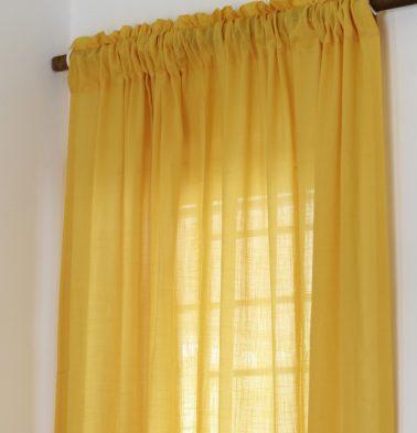 Slub Cotton Sheer Custom Curtain Sunflower Yellow