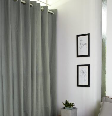 Chambray Cotton Curtain Pigeon Grey