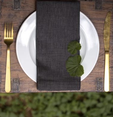 Stripe Cotton Table Napkins Black