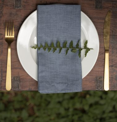 Stripe Cotton Table Napkins Blue