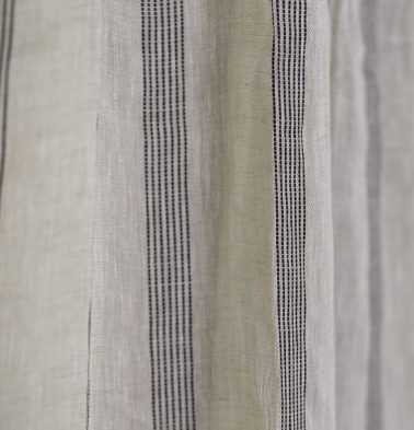 Stripe Linen Fabric Natural/Black