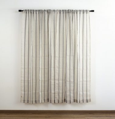 Stripe Linen Custom Curtain Natural/Black