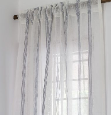Stripes Linen Curtain White/Blue