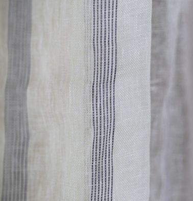 Stripe Linen Fabric White/Blue
