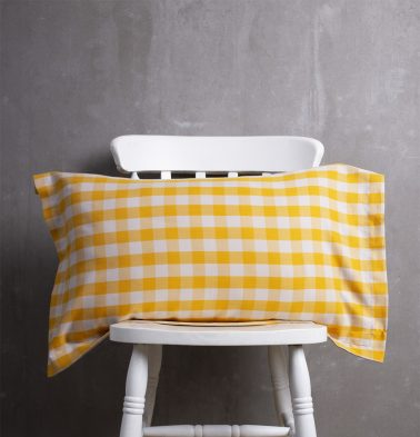 Chequered Cotton Pillow Cover Mineral Yellow