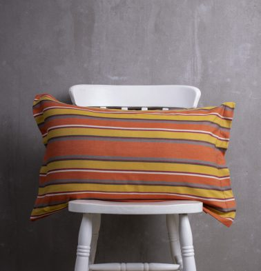 Autumn Striped Cotton Pillow Cover Orange/Mustard
